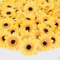 "DearHouse 100 Pcs Artificial Silk Sunflower Heads, Fake Sunflower 3.1"" for Sunflower DIY Wedding Fall Autumn Party Floral Wreath Accessories"