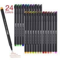 ZSCM 24 Colors Fineliner Pens 0.4mm Fine Point Markers Drawing Pen Set for Bullet Journal Writing Note Taking Calendar Books Art Projects (24 Colors)