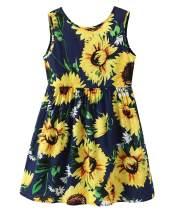 Little Kids Baby Girls Floral Summer Dress Sleeveless Sunflower Ruffle Causal Sundress