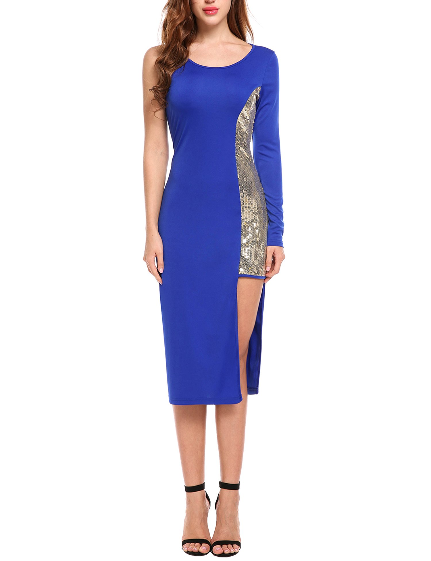 ANGVNS Womens O-Neck One Shoulder Long Sleeve Sequin Patchwork Bodycon Mid Calf Dress, M, Blue