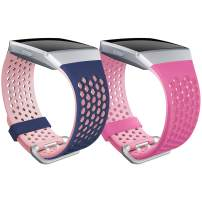 SKYLET Compatible with Fitbit Ionic Bands, 2 Pack Soft Silicone Breathable Replacement Sport Wristband Compatible with Fitbit Ionic Smartwatch Men Women Small Large Black