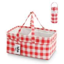 FEIAA Buffalo Diaper Caddy Organizer Baby Shower Gift Basket Nursery Storage Bin for Changing Table Pink, Plaid