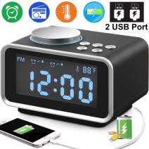 """TURNMEON Digital Alarm Clock Radio, 3.5"""" Blue LCD Snooze Alarm Clock FM Radio with Dual USB Charge Ports Temperature Dimmer Sleep Timer Adjustable Alarm Volume for Home Office Holiday Great Gifts"""