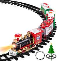 """Aokesi Toy Train Set with Lights and Sounds - Christmas Train Set - 30"""" Diameter Round Railway Tracks Around The Christmas Tree Battery Operated Toys Xmas Train Gift for Kids, Boys & Girls"""
