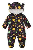 Kids4ever Newborn Baby Snowsuit Warm Fleece Jumpsuit Cartoon Bear Hooded Romper Footie Pajamas 0-12M