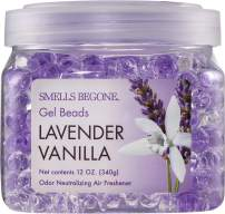 Smells Begone Odor Eliminator Gel Beads - Air Freshener - Eliminates Odor in Bathrooms, Cars, Boats, RVs and Pet Areas - Made with Natural Essential Oils - Lavender Vanilla Scent (12 OZ)