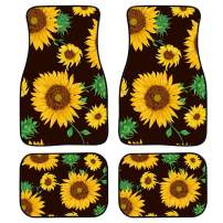 chaqlin Personlized Front & Rear Floor Mats for Womens Sunflower for Car,Truck, SUV & Van All Weather Liners,4 Piece Set Kick Mat
