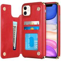 HianDier Wallet Case for iPhone 11 Card Holder Case Double Magnetic Clasp Flip Cover Soft PU Leather Kickstand Dual Layer Shockproof Wallet Case for 2019 Release 6.1 Inch iPhone 11 iPhone XI, Red