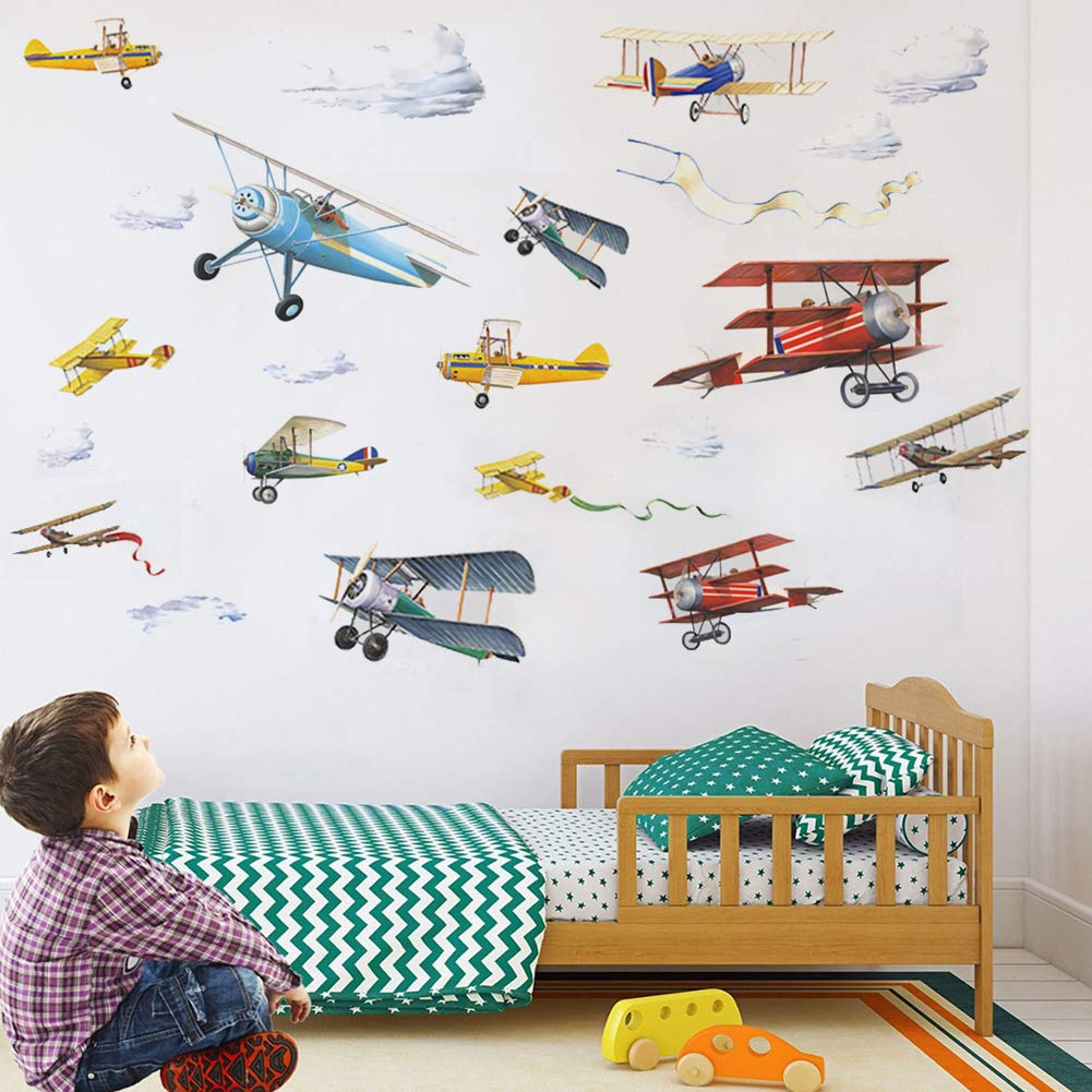 """Watercolor Airplane Wall Decals, Removable Wall Stickers for Nursery Playroom Kids Bedroom Decoration, Aircrafts Theme Boys Bedroom Wall Decoration (Airplane, 9.8"""" X 18"""" X4Pcs)"""