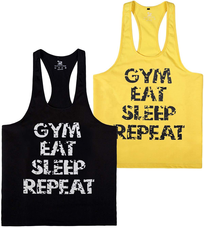 YSENTO Mens Stringer Tank Top Dri Fit Gym Workout Racerback Shirts