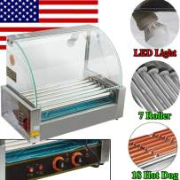 Zorvo Hot Dog Roller Machine—Electric 18 Hotdog 7 Roller Grill Cooker Machine—Stainless Steel Non Stick Sausage Warmer Hotdogs Grilling Cooker Appliances—with Cover and Easy to clean drawer—Commercial/Household 110V 1050W