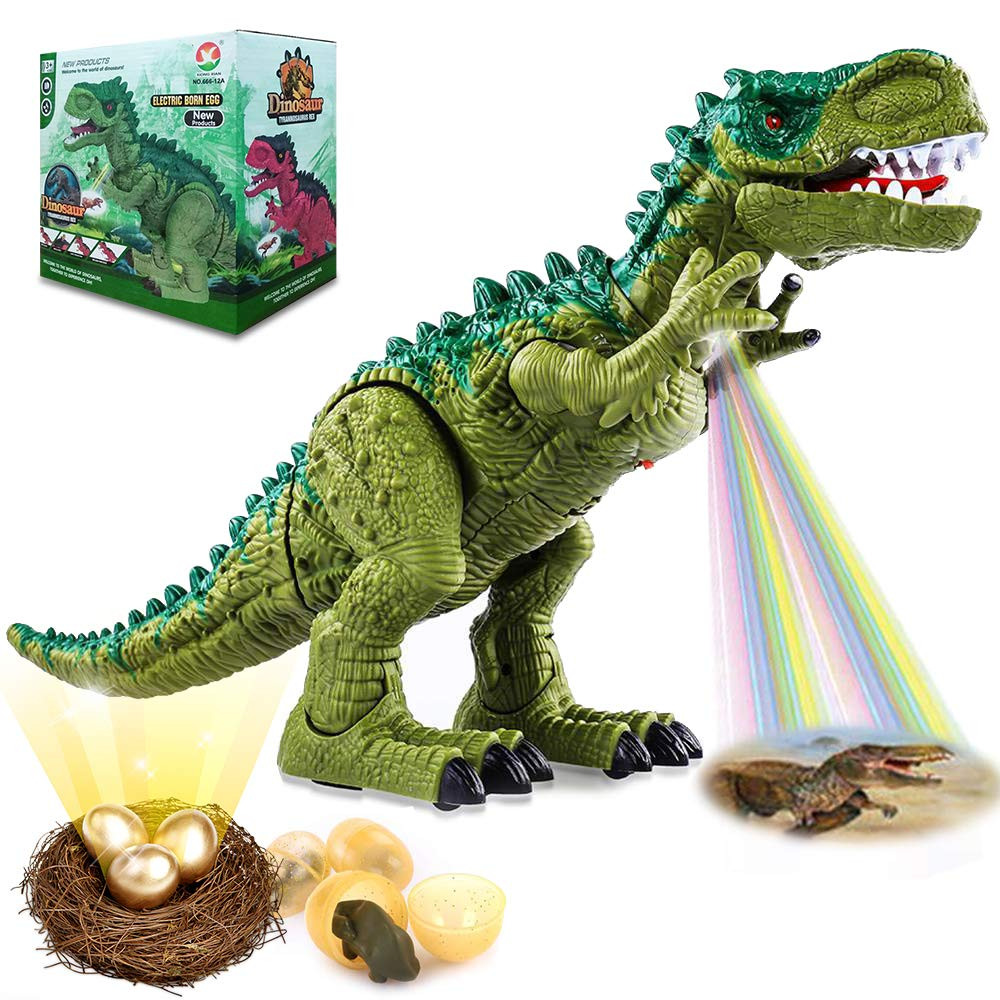 Kimiangel Walking Dinosaur Toys for Kids Boys Girls, Electronic Projection LED Light Up + Green T-Rex with Roaring Sounds, Real Movement, 3 Laying Easter Eggs, Gifts Box Birthday Party Supplies
