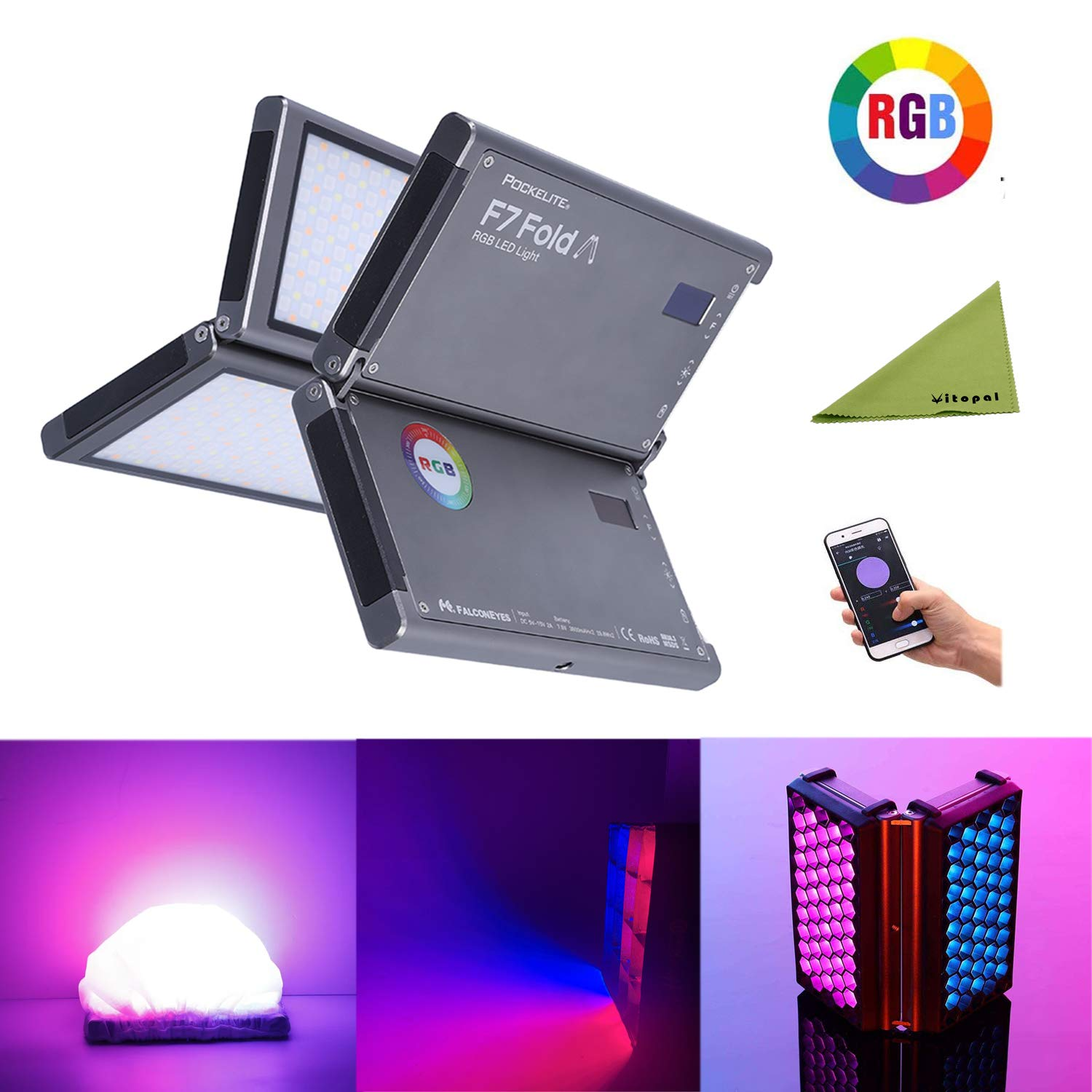 Falcon Eyes F7 Fold 24W RGB On Camera Video Light + Foldable Honeycomb Grid and Softbox, Support Magnetic Attraction and App