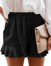 Doublju Women's Loose Fit Comfortable Elastic Waist Band & Strap Casual Shorts