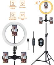 """10"""" Selfie Ring Light with 3 Cell Phone Holder,Dimmable 3 Light Modes & 10 Brightness USB Ringlights Desk Makeup Light Live Streaming Circle Light for YouTube Video Photography"""
