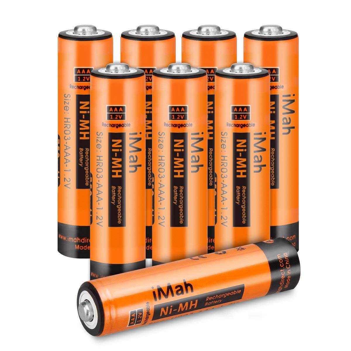 iMah AAA Rechargeable Batteries, Also Compatible with Panasonic Cordless Phone Battery 1.2V 550mAh HHR-55AAABU and 750mAh HHR-75AAA/B, HHR-4DP KX-TGEA40B KX-TGE433B KX-TGE445B KX-TG7875S, Pack of 8