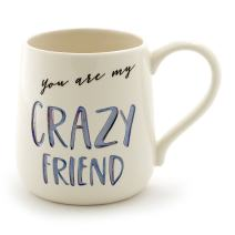 "Enesco 6000522 Our Name Is Mud ""Crazy Friend"" Stoneware Engraved Coffee Mug, 16 oz, Blue"