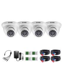 ZOSI 4 Pack 1080p Dome Security Camera Kit (Hybrid 4-in-1 HD-CVI/TVI/AHD/960H Analog CVBS),2.0MP (1920TVL) Day Night Weatherproof Surveillance CCTV Camera Outdoor Indoor, Night Vision Up to 80FT