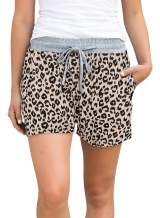 Sidefeel Women Striped Elastic Waist Casual Pajamas Shorts Yoga Workout Short Pants