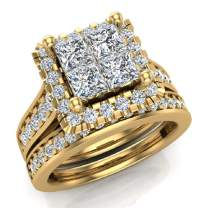 Princess Cut Wedding Rings Set for Women 14K Gold Quad Illusion 1.80 ct tw (G, SI)