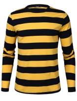iClosam Men's Crew Neck Basic Striped T-Shirt Long Sleeve Cotton Shirt