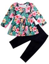 Toddler Little Baby Girls Outfits Ruffled Flare Tunic Top and Floral Leggings Pants Clothes Set