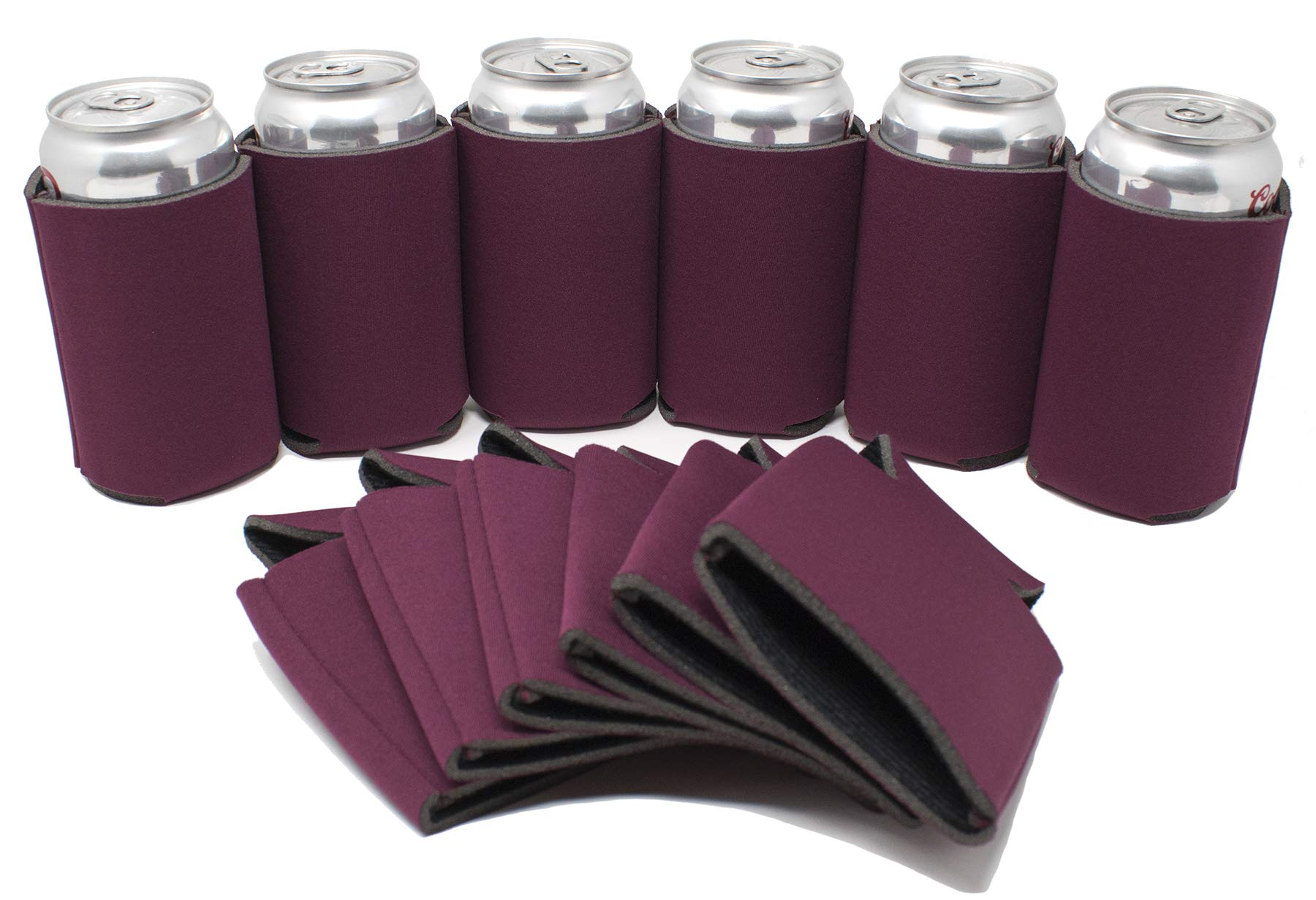 TahoeBay 12 Blank Beer Can Coolers, Plain Bulk Collapsible Soda Cover Coolies, DIY Personalized Sublimation Sleeves for Weddings, Bachelorette Parties, Funny HTV Party Favors (Maroon, 12)
