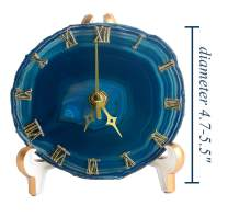 AMOYSTONE Agate Desk Clocks for Bedrooms Battery Operated Living Room Decor Round Table Clock Silent Sweep Dyed Teal