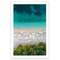 Humble Chic Wall Art Prints - Unframed HD Printed Beach Picture Poster Decorations for Home Decor Living Dining Bedroom Bathroom College Dorm Room - Ombre Beach Aerial Ocean, 24x36 Vertical
