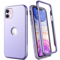 """SURITCH Case for iPhone 11,【Built in Screen Protector】【Support Wireless Charging】 Soft TPU Back Cover Hybrid Bumper 360 Full Body Protection Rugged Case Shockproof for iPhone 11 Case 6.1""""(Purple)"""