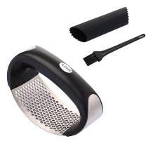Garlic Press Stainless Steel Mincer and Crusher Self Cleaning Garlic Crusher Rocker with Garlic Silicone Peeler and Cleaning Brush Easy Squeeze Dishwasher Safe Easy Clean