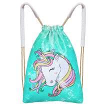 MHJY Unicorn Bag Reversible Sequin Drawstring Bag Sparkly Dance Bag Gym Backpack for Girls Kids,Aqua Green