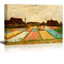 "wall26 Bulb Fields (Also Called Flower Beds in Holland) by Vincent Van Gogh - Oil Painting Reproduction on Canvas Prints Wall Art, Ready to Hang - 24"" x 36"""