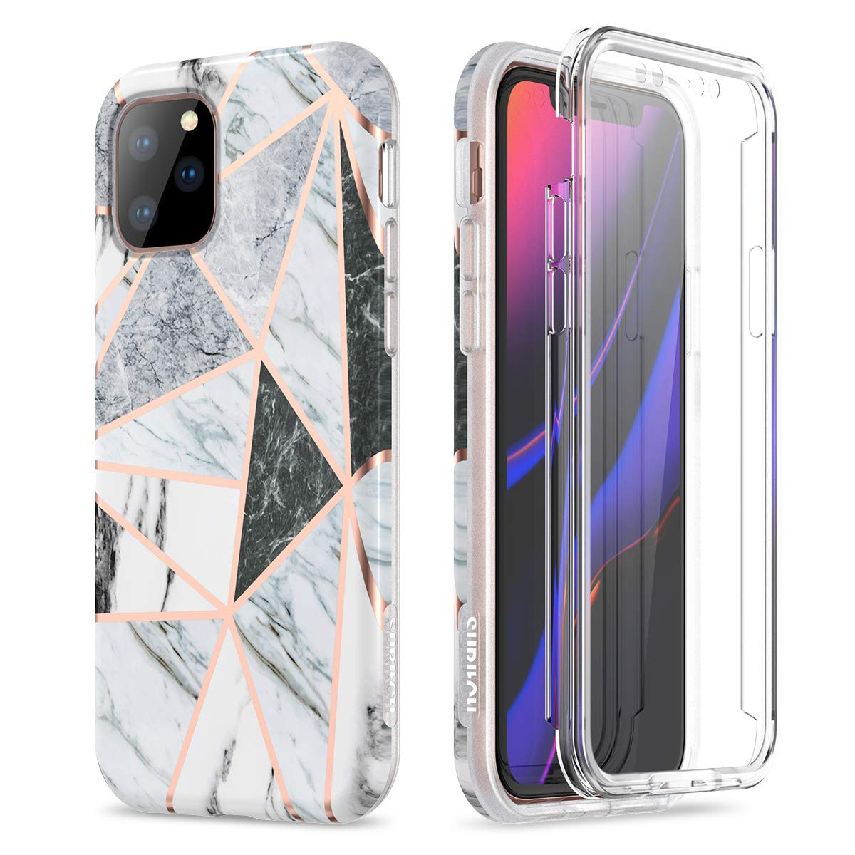 SURITCH Marble iPhone 11 Pro Max Case, [Built-in Screen Protector] Full-Body Protection Hard PC Bumper + Glossy Soft TPU Rubber Gel Shockproof Cover for iPhone 11 Pro Max 6.5 inch(Cute Geometric)