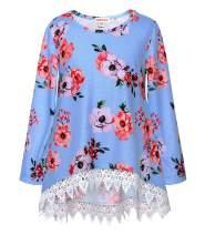 JESKIDS Girls Tunic Tops Unicorn Short Sleeve High Low Loose Fitting Shirts with Pockets