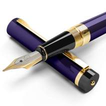 DRYDEN Luxury Fountain Pen with Ink Refill Converter - Smooth & Elegant, Perfect Gift Set for Calligraphy Writing, Signature, Journal, Artist and Professionals [DECADENT PURPLE WITH GIFT BOX]