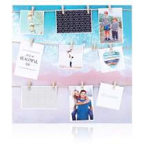 HANTAJANSS Clip Photo Holder, Photo Collage Frame, Large Picture Display Frame with 12 Wood Clothespin Clips for Hanging Home Decoration 20 ×20 inches