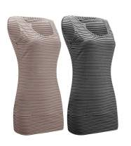 Striped Tank Tops for Women Scoop Neck Long Stretch Camisole Layering Top