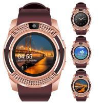 V8 Sports Smartwatch Bluetooth with Camera Message Push Touch Screen Pedometer Sedentary Reminder Sleep Monitor Instant Notification Anti-Lost Smartwatch for Android Phone (Brown+Rose Gold)