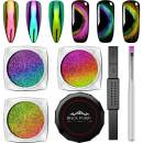 Cat Eye Chrome Nail Powder - 3Pc Get Cat Eye Effect and Chameleon Mirror Effect, 9D Galaxy Gem Glitter Metallic Manicure Pigment with Bonus Black UV Gel and Magnetic Stick - New DIY Set