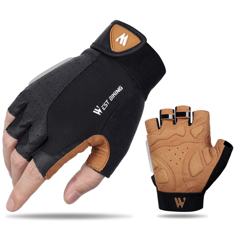 West Biking Cycling Gloves for Men Women Anti Slip Shock-Absorbing Half Finger Road MTB Gloves with Foam Padding, Breathable & Stretch Fit Bike Gloves with Reflective Straps Riding Biking Motorcycle