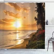 "Ambesonne Hawaiian Shower Curtain, Warm Tropical Sunset on Sands of Kaanapali Beach in Maui Hawaii Traveling, Cloth Fabric Bathroom Decor Set with Hooks, 75"" Long, Cream Ivory"