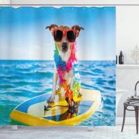 """Ambesonne Ride The Wave Shower Curtain, Dog in The Ocean Surfing Cool Puppy Swimming Comic Coastal Animal Picture, Cloth Fabric Bathroom Decor Set with Hooks, 70"""" Long, Yellow Blue"""