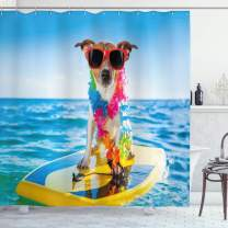 "Ambesonne Ride The Wave Shower Curtain, Dog in The Ocean Surfing Cool Puppy Swimming Comic Coastal Animal Picture, Cloth Fabric Bathroom Decor Set with Hooks, 70"" Long, Yellow Blue"