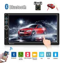 """Car Radio Double Din Car Stereo 7"""" LCD Touch Screen in-Dash Head Unit with Bluetooth Support Mirror Link/DVR/USB/FM/SD/MMC MP3 +Rear View Camera& Remote Control"""