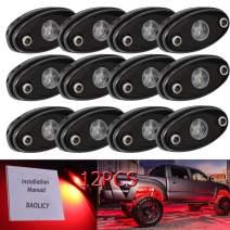 BAOLICY Led Rock Light Red, Jeep Rock Lights for RZR JK XJ UTV ATV TJ Offroad Truck SUV Car Boat Underbody Glow Trail Rig Neon Lights Waterproof (Red 12Pods)