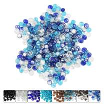 Hisencn 1/2 Inch Blended Fire Glass Beads for Fire Pit, Fireplace, Fire Bowls, Garden Landscaping Decorative Accessories, Tempered Glass Rocks, Cobalt Blue,Caribbean Blue,Crystal Ice Mix, 10 Pound