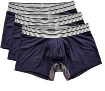 Mr. Davis Men's Bamboo Viscose Trunks Cut Boxer Brief Underwear, Large, Navy, 3 Pack