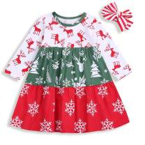 Toddler Baby Girl Clothes Kids Christmas Outfits Long Sleeve Print Dress + Headband Fall Clothing Set 1-6T