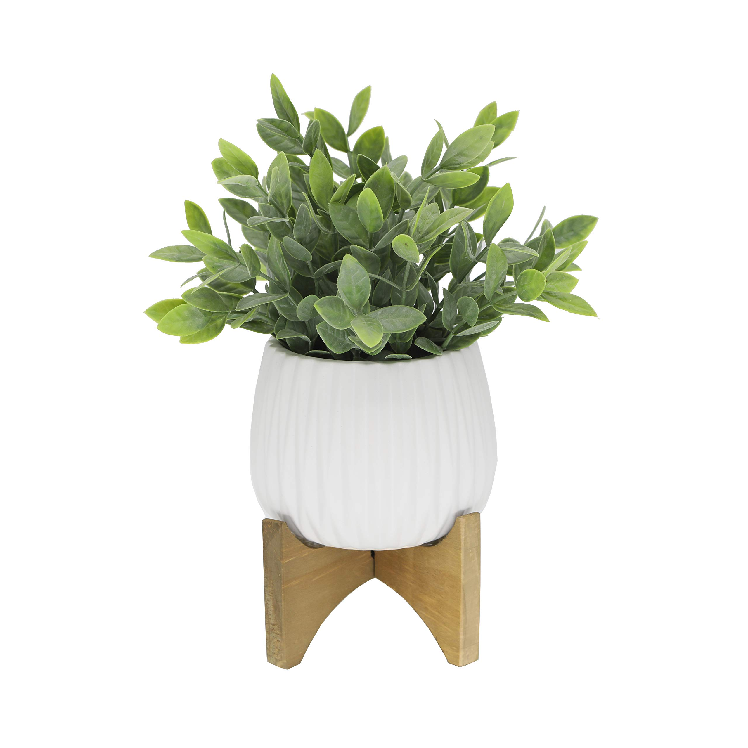 Flora Bunda Artificial Plant Tea Leaf in 5 in Ridge Ceramic Pot on Wood Stand,Matte White